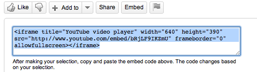 Screen shot of embed code on YouTube