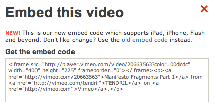 Screen shot of embed code on Vimeo
