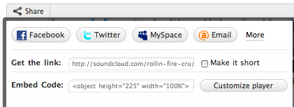Screen shot of Soundcloud embed code