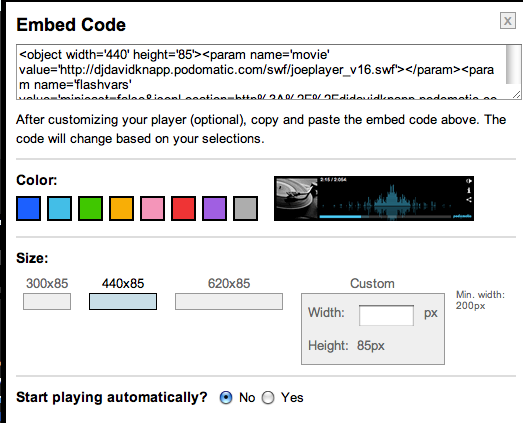 Screen shot of Podomatic embed code
