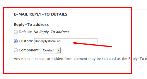 Screenshot of E-mail Reply-to Details section of the webform