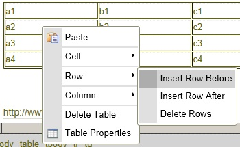 table properties dialog window with Insert Row selected