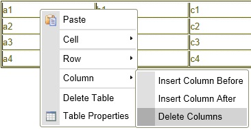 dialog window displaying  table properties.  Delete Column is selected