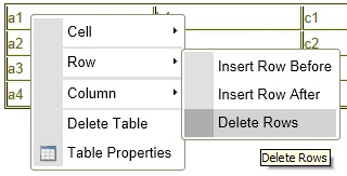 Dialog window of Table properties. Delete Rows is selected.