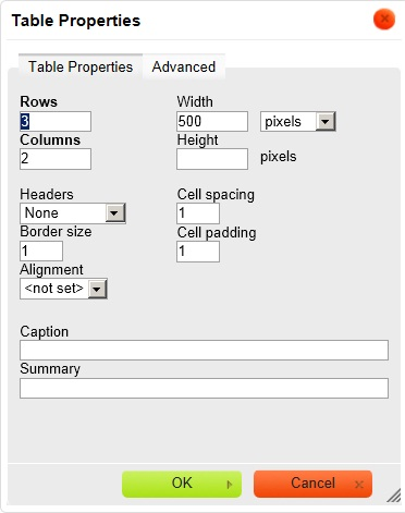 Screenshot of table properties dialog box