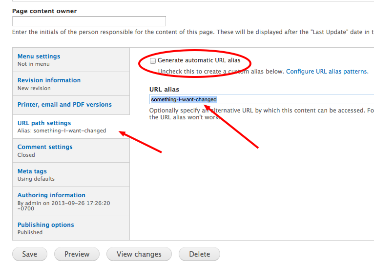 Image showing the URL update settings of a Drupal edit form